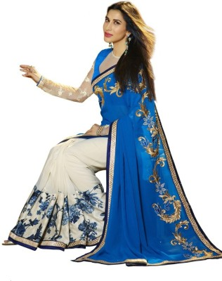 MahekImpex Floral Print, Embriodered Bollywood Georgette, Satin Sari