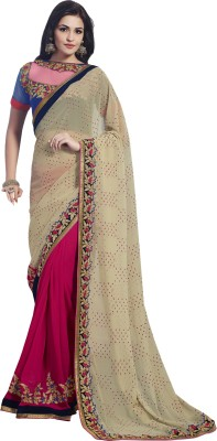 Kvsfab Embriodered Fashion Georgette, Jacquard Sari