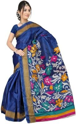 Lime Floral Print Bhagalpuri Handloom Art Silk Sari