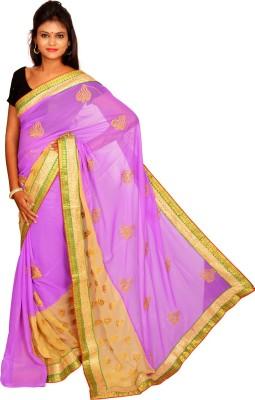Jagadamba Solid Fashion Chiffon Sari