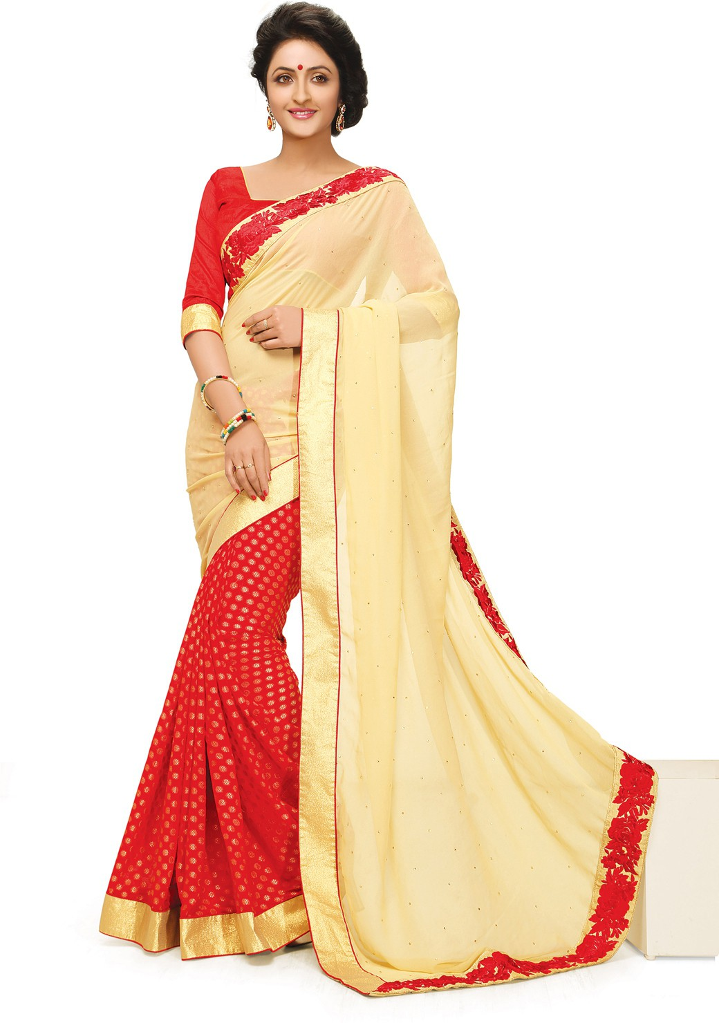Indianbeauty Self Design, Embroidered Fashion Jacquard, Georgette Sari(Beige, Red)