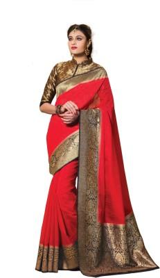Fashiontra Self Design Fashion kora/ yak wool Sari