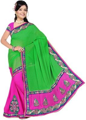 Randeria Fabrics Self Design Fashion Jacquard, Georgette Sari