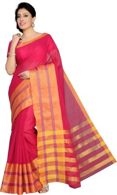Studio Shringaar Checkered, Striped Chanderi Art Silk Sari