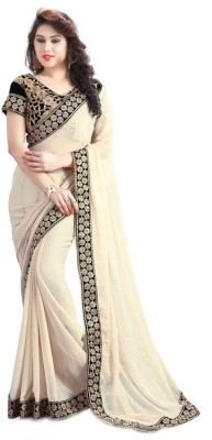 Pragati Fashion Hab Embroidered Fashion Georgette Sari(Multicolor)