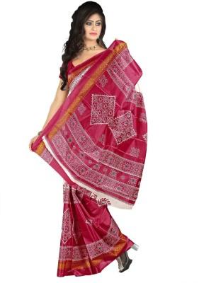 Raj Creative Geometric Print Ikkat Handloom Art Silk Sari