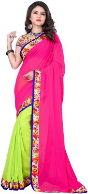 Manshvi Fashion Plain Daily Wear Georgette Sari