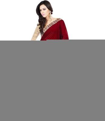 Multiretail Embriodered Daily Wear Velvet Sari