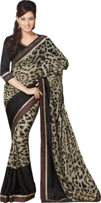 Queenbee Animal Print, Embriodered, Self Design Fashion Georgette Sari