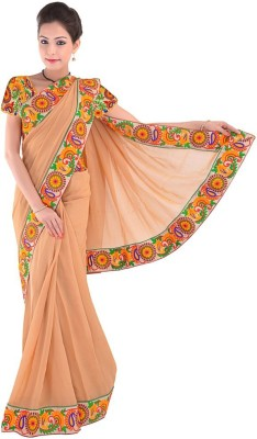 Indiangiftemporium Embriodered Daily Wear Handloom Georgette Sari
