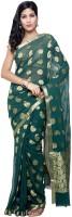 Sudarshansilks Geometric Print Kosa Chiffon Sari(Green)