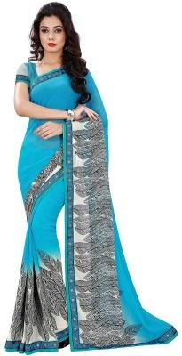 nimi fashion Solid, Self Design, Printed Fashion Georgette Sari