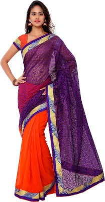 Jagdamba Creation Plain Fashion Brasso Sari