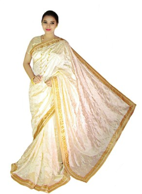Home Design Embriodered, Embellished Bollywood Handloom Tussar Silk Sari