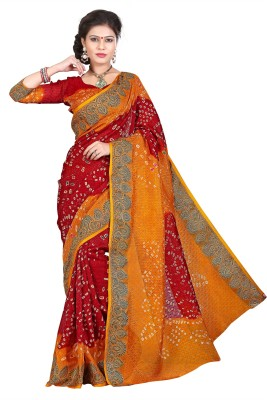 Banzari Hand Painted Bandhej Jacquard Sari