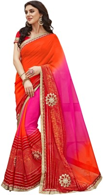 Hitansh Fashion Embroidered Fashion Georgette Saree(Pink, Orange) at flipkart