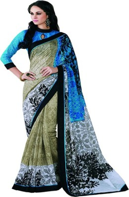 Jambudi Creation Printed Fashion Silk Cotton Blend Sari