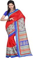 Majestic Silk Printed Bhagalpuri Art Silk Sari(Multicolor)