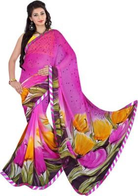 Connectshop Floral Print Daily Wear Georgette Sari