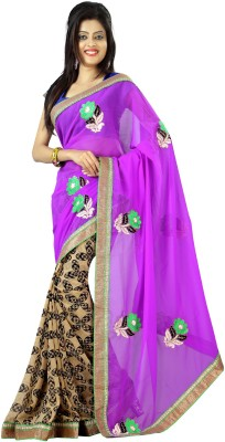 J Milan Embriodered, Solid, Self Design Fashion Chiffon, Synthetic Georgette Sari