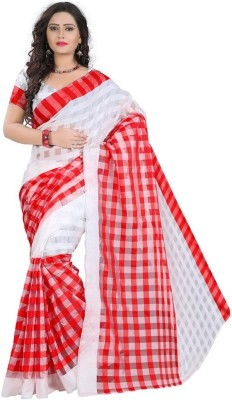 Vivels Checkered Bollywood Cotton Slub Sari
