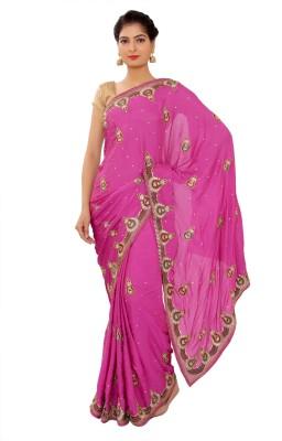 Shri Narayan Fashions Embriodered Fashion Synthetic Crepe Sari