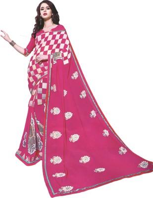 BPS Checkered, Floral Print, Embellished Fashion Georgette Sari
