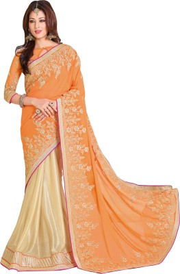 Queenbee Embellished, Embriodered, Self Design Fashion Georgette, Lycra Sari