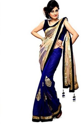 Bluebellcloset Self Design Bollywood Handloom Chiffon Sari