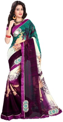 Purnima Floral Print Fashion Chiffon Sari