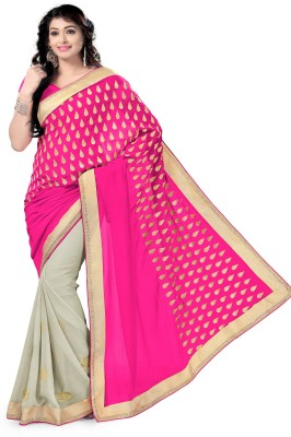 Vaamsi Printed Daily Wear Georgette Saree(Pink) at flipkart