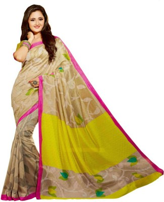 Fashion Hub Sarees Floral Print Mysore Handloom Art Silk Sari