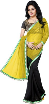 Vruticreation Self Design, Embriodered Bollywood Lycra, Georgette Sari