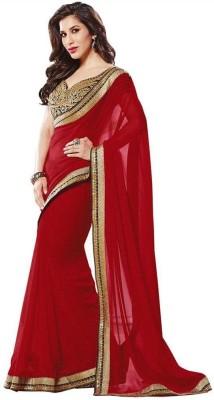 Ambefashion Solid Bollywood Pure Georgette Sari
