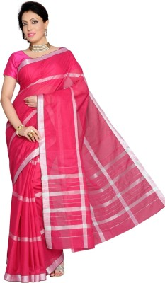 Studio Shringaar Striped, Checkered Chanderi Art Silk Sari