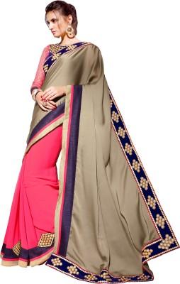 Dilwaa Self Design, Embriodered Fashion Georgette, Satin Sari