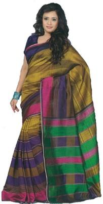 Maxusfashion Striped Fashion Chanderi, Cotton Sari