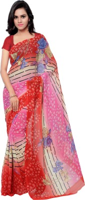 Pikasho Self Design, Printed Fashion Georgette Sari