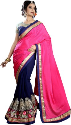 Go4fashion Embriodered Fashion Georgette, Chiffon Sari