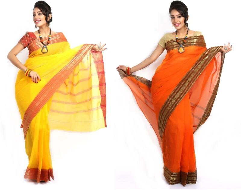 Purabi Woven Tant Handloom Cotton Saree(Pack of 2, Yellow, Orange)