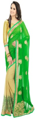 Clickedia Fashion Embriodered Bollywood Georgette Sari