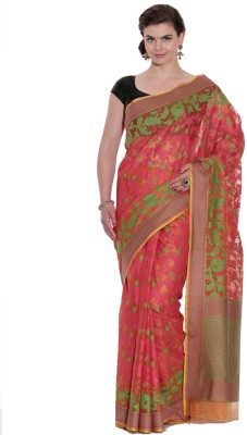 Kataan Bazaar Self Design Banarasi Handloom Net Saree(Multicolor) at flipkart