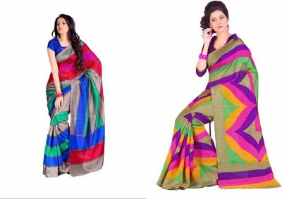 Swaranjali Striped, Geometric Print Fashion Art Silk, Cotton Sari