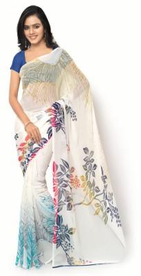 Ligalz Printed Daily Wear Chiffon Saree(White, Blue) at flipkart