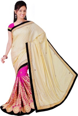 Kesari Solid Bollywood Georgette Sari