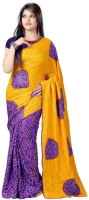 Shristy Fashion Floral Print Bandhani Chanderi Sari