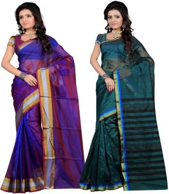 Indian E Fashion Plain, Striped Chanderi Cotton Sari