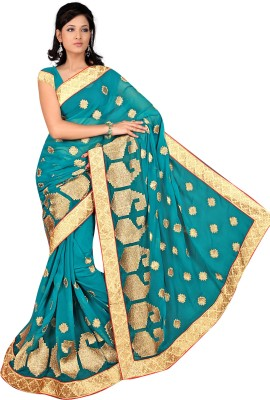 Aakriti Sarees Embriodered Fashion Handloom Chiffon Sari