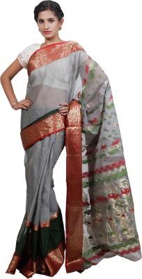 Adaab Self Design Tant Handloom Silk Cotton Blend Sari