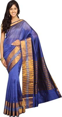 Pavechas Solid Banarasi Silk Cotton Blend Saree(Purple) at flipkart